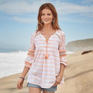 Sundance Orange Striped Lace Up Blouse